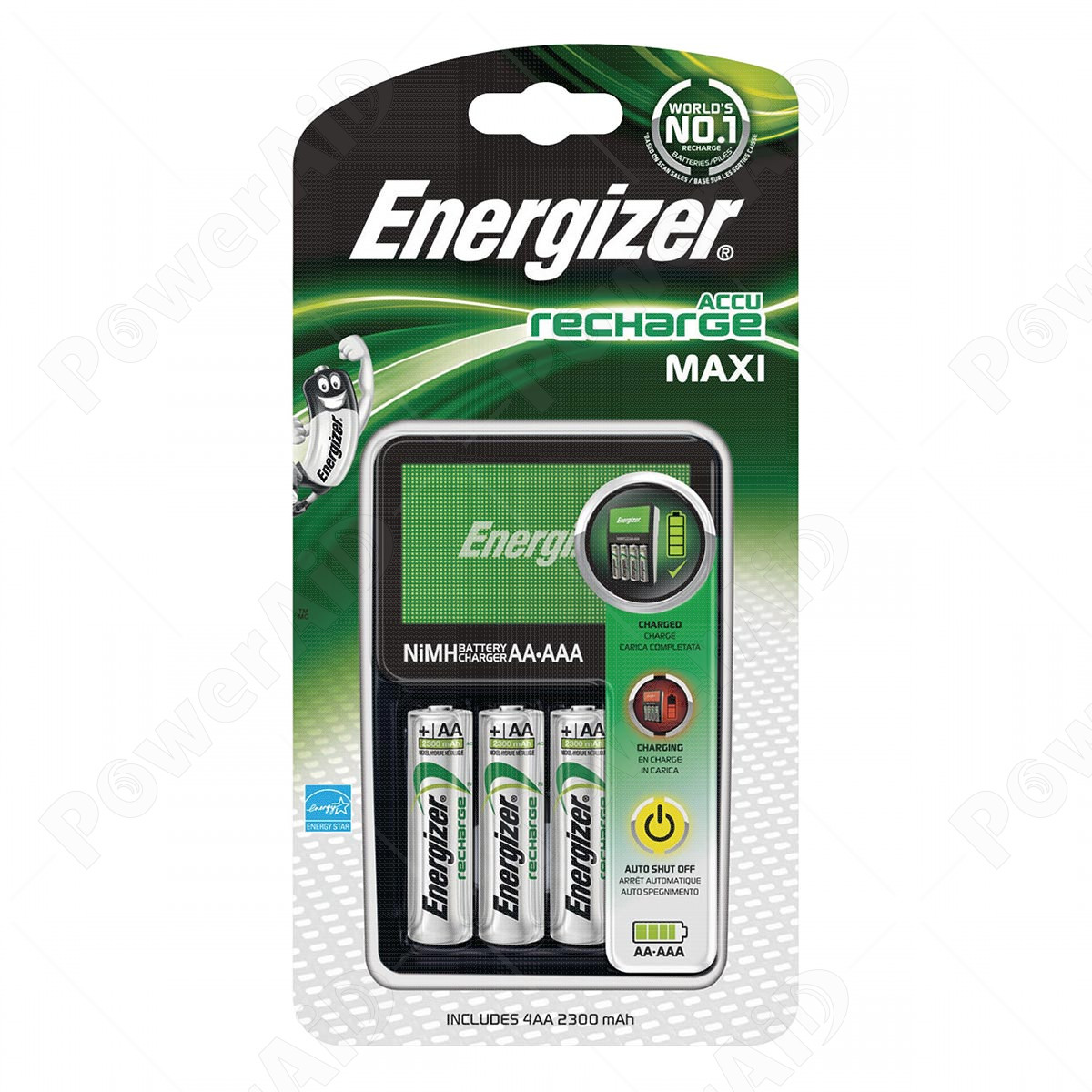 Energizer - Caricabatterie Recharge MAXI con 4 Batterie AA 230 mAh